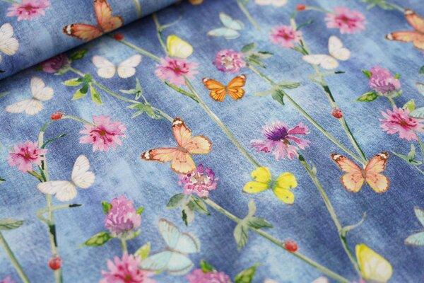Baumwollstoff bunte Schmetterlinge und Blumen auf jeansblau Jeans-Optik