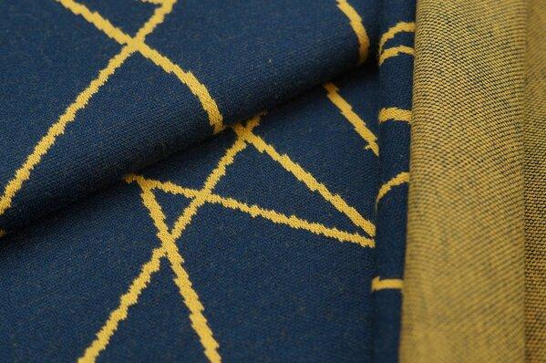Jacquard-Sweat Ben senf Streifen auf navy blau