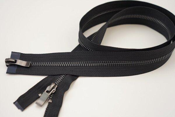 Reißverschluss schwarz Teilbar 6 mm Metallschiene graphit X-Form 2-Wege 60-90cm