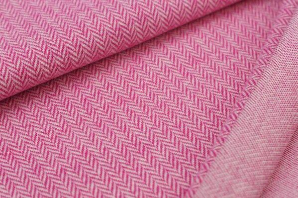 Kuschel Jacquard-Sweat Max Fischgrätenmuster amarant pink / off white