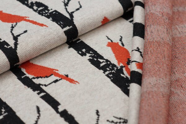 Jacquard-Sweat Ben Vögel und Bäume off white schwarz und rostorange