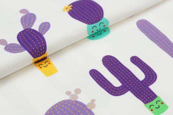 Baumwoll-Jersey Digitaldruck witzige Kakteen auf off white Kaktus