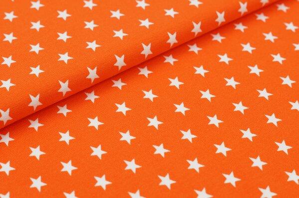 Baumwoll-Jersey kleine Sterne orange / weiß