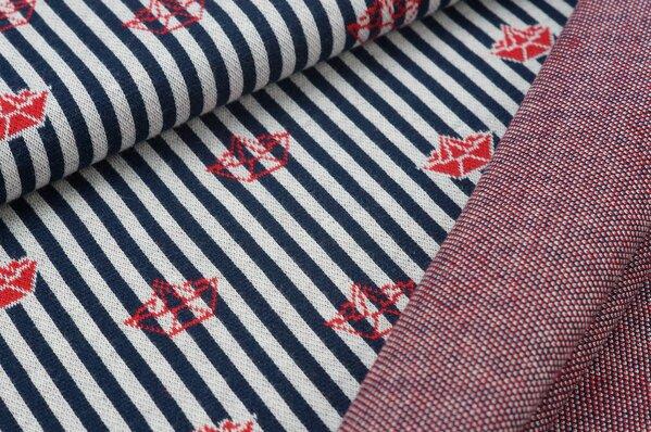Jacquard-Sweat mit Papierschiffchen auf Streifen navy blau / off white / rot