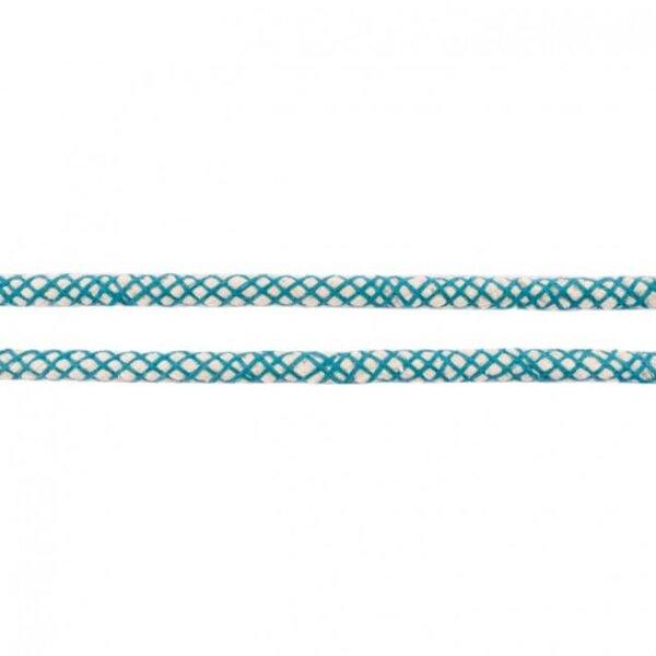 Kordel mit Netzmuster rund ecru / petrol 8 mm breit