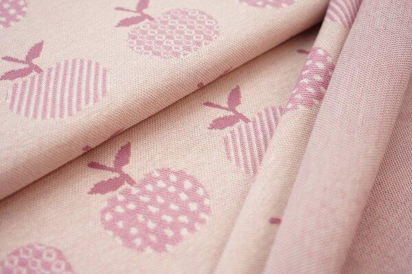 Jacquard-Sweat Ben altrosa / off white / dunkel altrosa Äpfel auf dunkel pastell rosa