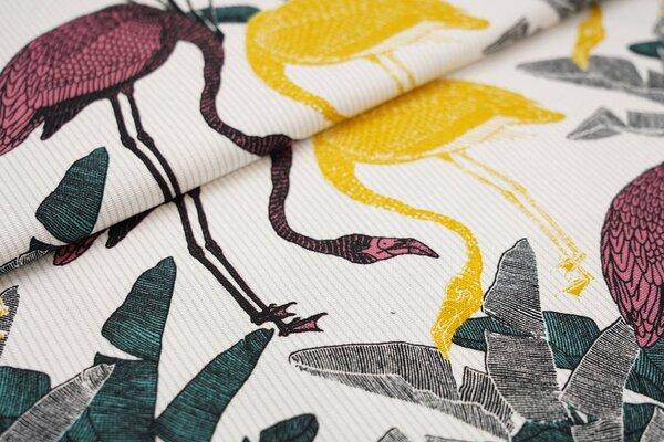Dekostoff Canvas Flamingos Blätter und Streifen weiß / grau / senf / koralle