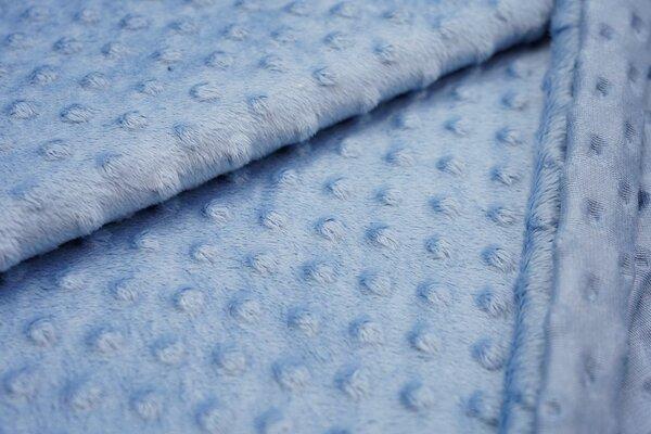 Minky Bubble Fleece Noppen Punkte uni blau dunkel babyblau
