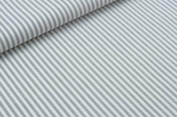 Baumwollstoff Baumwolle Streifen hellgrau / weiß meliert
