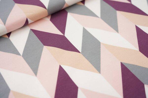 Baumwoll-Jersey Pfeilmuster Chevy Chevron violett / rosa / grau / haut / weiß