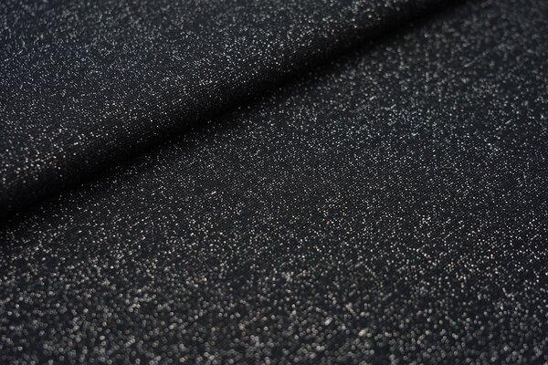 Glitzer Bündchen schwarz mit silber Lurex Glitzer