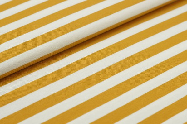 XXL Baumwolljersey Marie Streifen Ringel mittel senf ocker gelb und off white