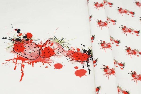 Panel Baumwoll-Sweat Erdbeeren mit Farbklecksen ecru / rot Rapport Digitaldruck