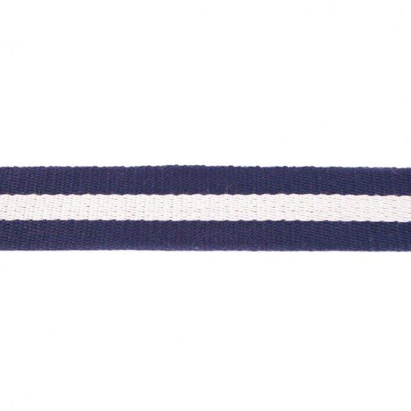 Breites Gurtband mit Streifen dunkelblau / weiß 40 mm