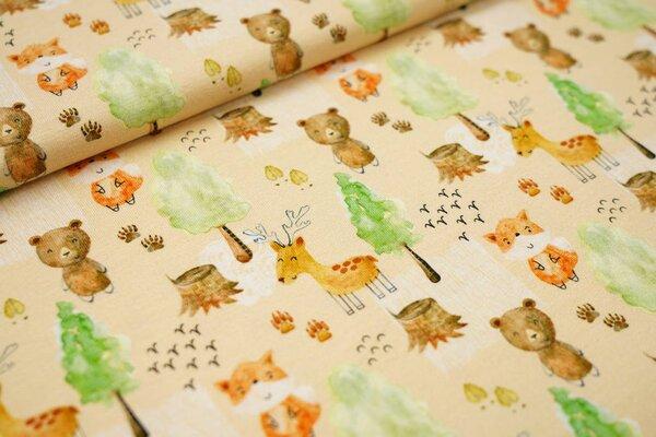 Baumwoll-Jersey Tiere im Wald auf sandgelb Hirsche Füchse Bären Bäume
