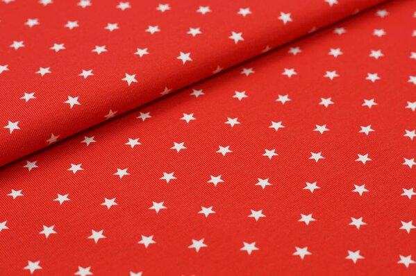 Baumwoll-Jersey sehr kleine Sterne rot / weiß