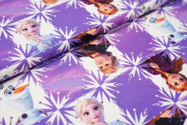 Digitaldruck Baumwoll-Jersey Eiskönigin Frozen Elsa Anna Olaf Kristoff Eiskristalle lila