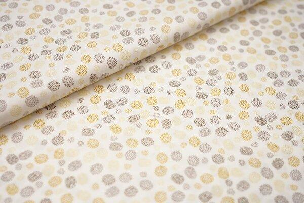 Baumwolle kleine Punkte Kreise weiß / senf / hellgelb / braun / dunkelbraun