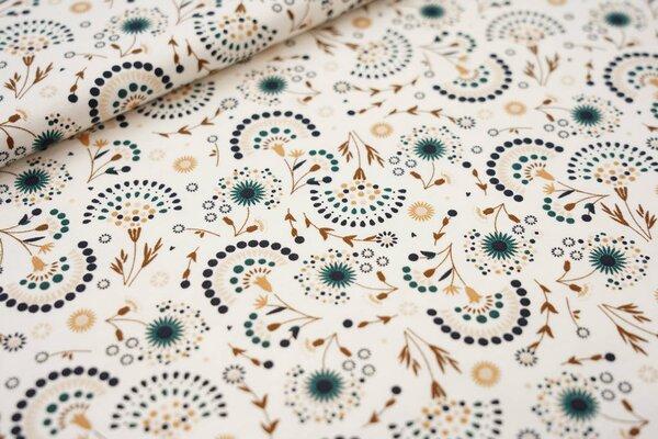 Baumwoll-Jersey Fächerblumen creme / braun / beige / grün