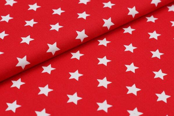 Baumwollstoff Baumwolle große Sterne rot / weiß