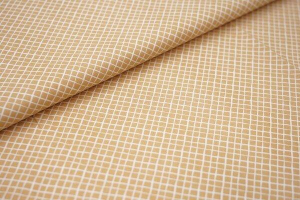 Baumwollstoff Baumwolle hell beige mit kleinen weißen Rauten Karos