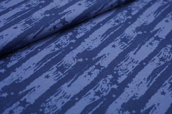 Kuscheliger Baumwoll-Sweat Sterne auf abstrakten Streifen dunkelblau taupe blau