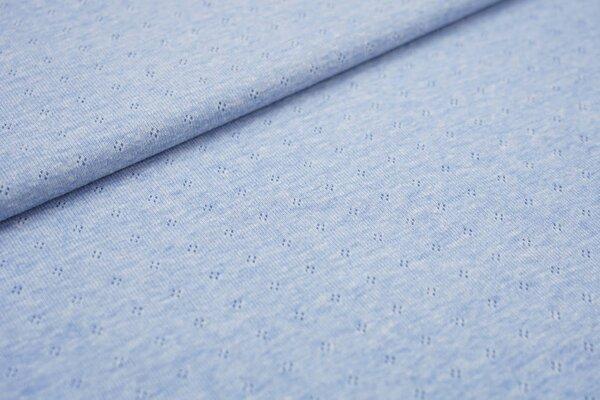 Feinstrick-Jersey uni mit Lochmuster hellblau melange