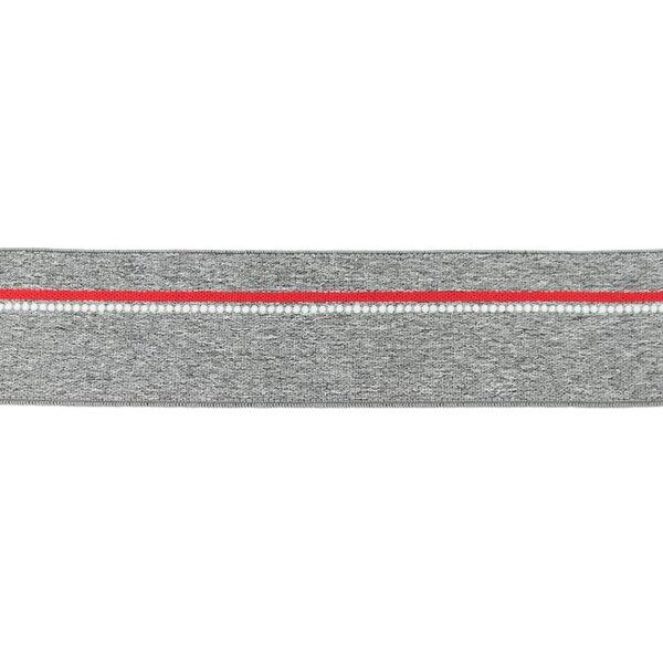 Breites Gummiband mittelgrau meliert mit rotem Streifen und weißen Punkten
