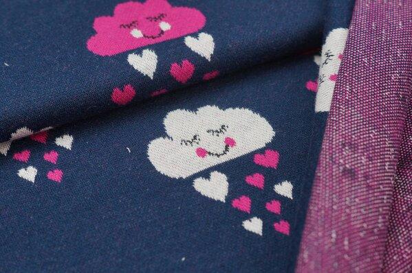 Jacquard-Sweat Ben amarant pink / off white Herzchen und Wolken auf navy blau