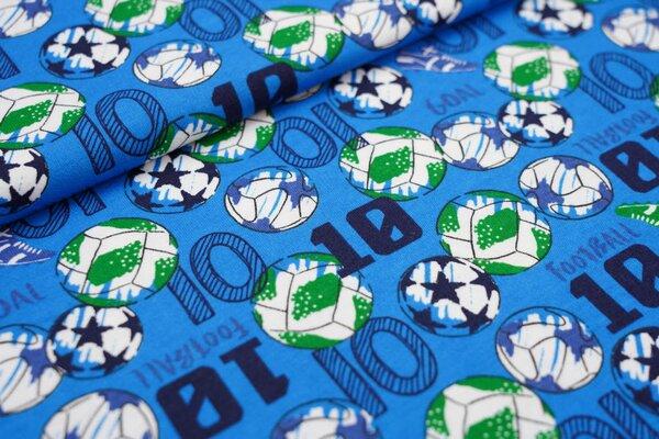 Interlock Jersey Fußbälle Fußballschuhe blau / dunkelblau / grün / weiß