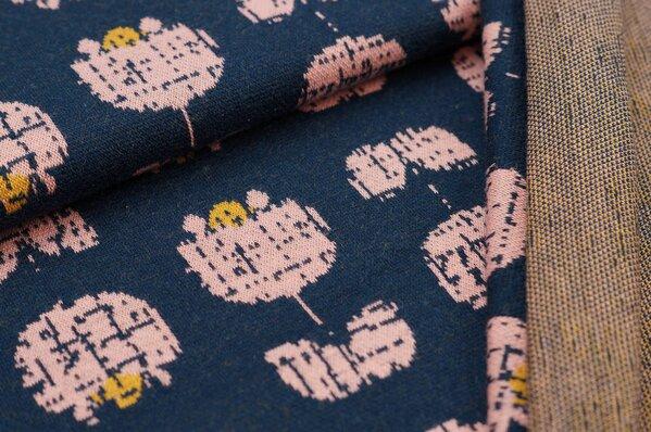Jacquard-Sweat Ben schraffierte Tulpen Blumen navy blau / lachs / senf