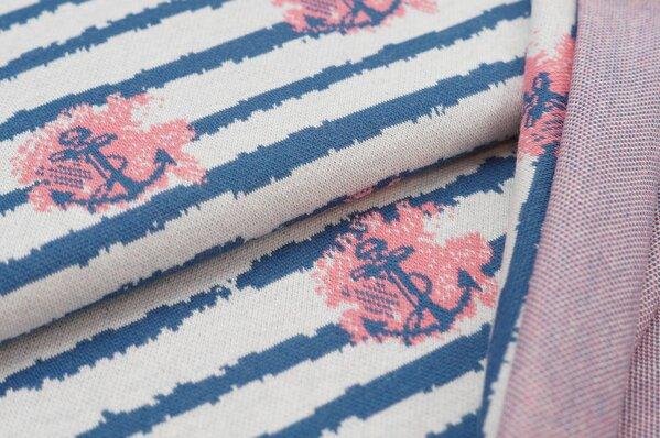 Jacquard-Sweat Ben Anker / Streifen taupe blau / koralle / off white