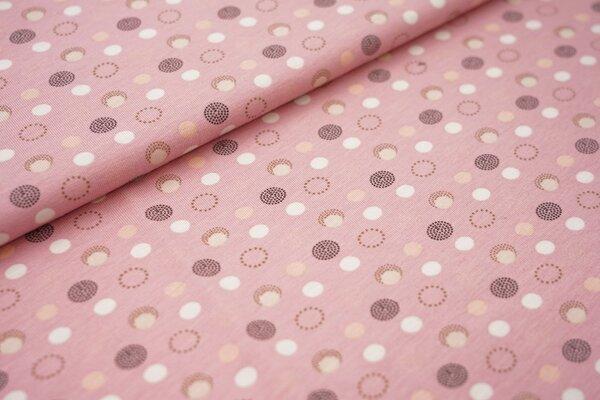Baumwoll-Jersey Kreise Punkte auf rosa mit weiß / beige / braun / lachs