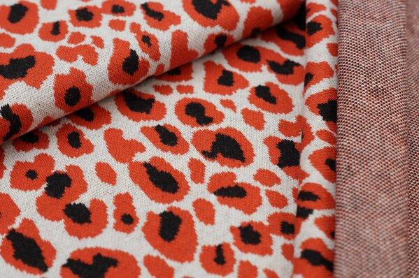 Jacquard-Sweat Ben mit Leoparden Design off white / rostorange / schwarz