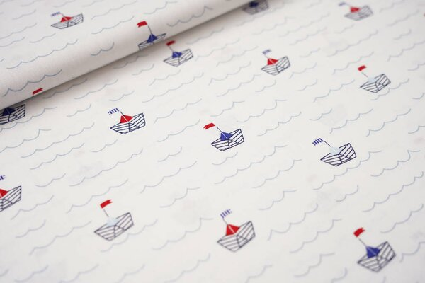 Baumwolle Meer Wellen Papierschiffchen maritim auf weiß