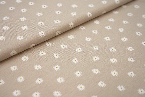 Baumwoll-Jersey Gänseblümchen auf sand beige Blumen in weiß und olivgelb