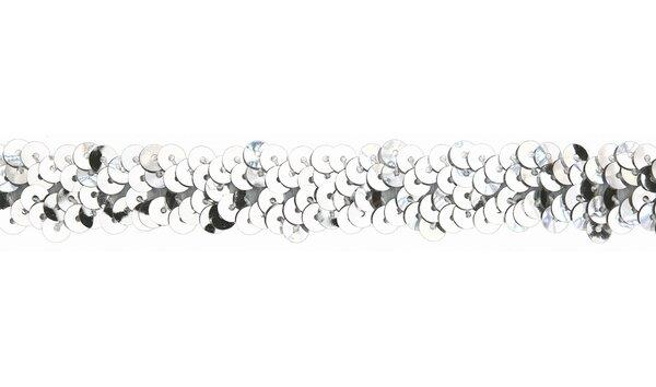 Pailettenband uni silber 30 mm Zierband
