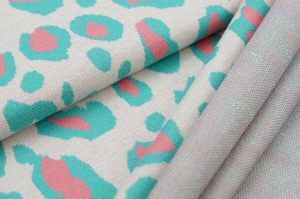Jacquard-Sweat Ben mit XXL Leoparden Muster off white / koralle / mint seegrün