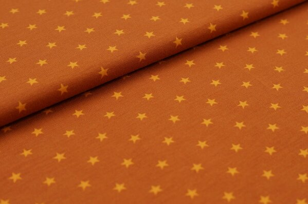 Baumwoll-Jersey kleine Sterne rostbraun / senf