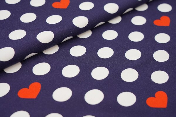 Baumwoll-Jersey große weiße Punkte und rote Herzen auf dunkelblau