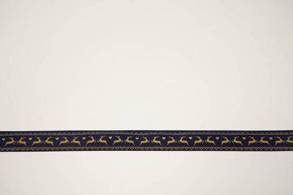 Satinband goldene Hirsche und Herzen mit Rand auf blau 15 mm Zierband Dekoband