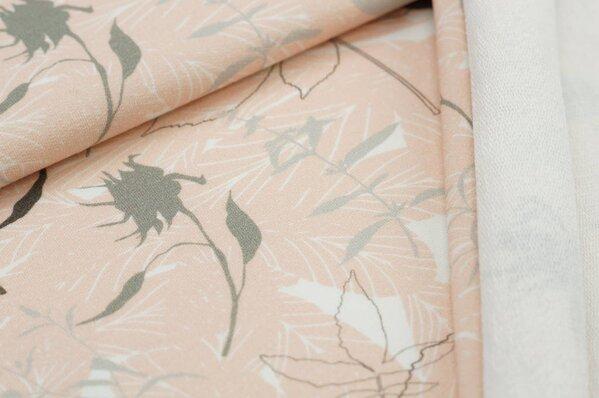 XXL Baumwoll-Sweat Digitaldruck Blätter Muster pastell rosa / off white / grau
