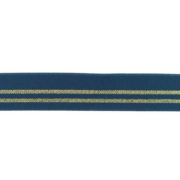 Gummiband mit 2 Gold Glitzer Streifen jeansblau 30 mm