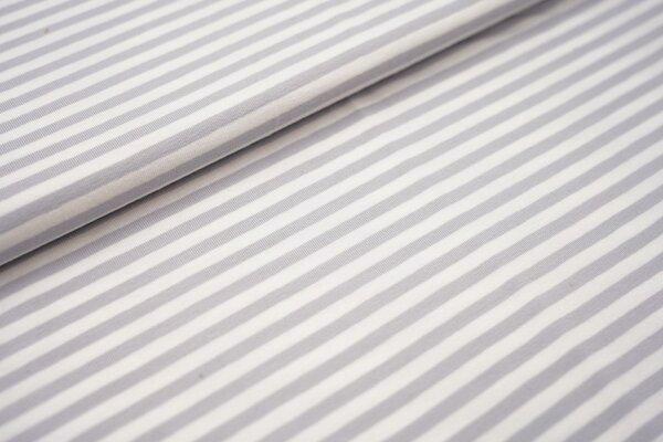 Baumwoll-Jersey Streifen Ringel weiss / hellgrau