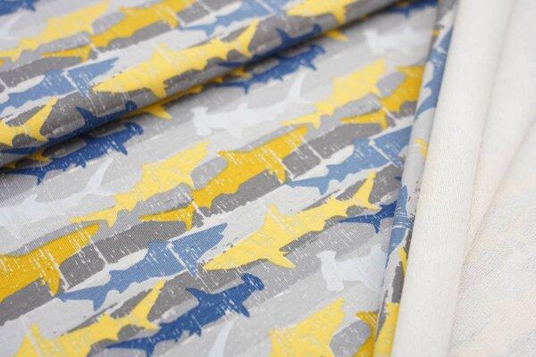 Baumwoll-Sweat Haie und Streifen grau / senf / gelb / hellblau / taupe blau