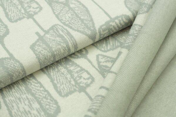 Jacquard-Sweat Ben Blätter hellgrau auf off white