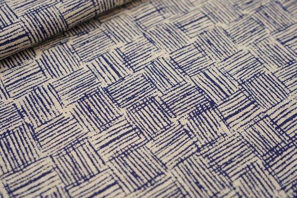 Canvas-Stoff Dekostoff in Leinenoptik Kästchen-Muster Striche natur / dunkelblau