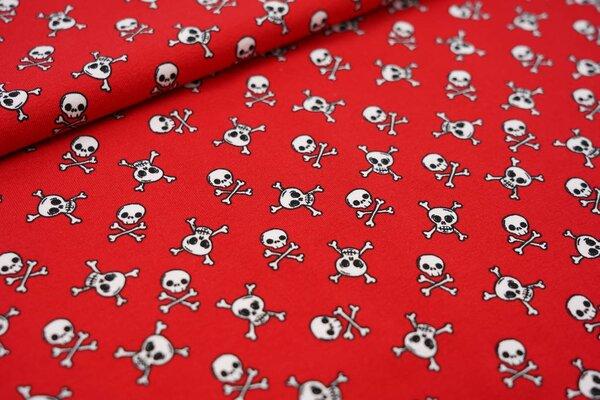 Baumwoll-Jersey mit Totenköpfen auf rot Totenkopf