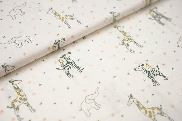Baumwolle kleine Safaritiere und Blumen auf weiß Elefant Zebra Giraffe Vogel