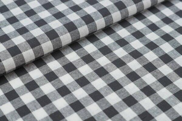 Baumwollstoff Baumwolle Karomuster groß kariert anthrazit grau / weiß